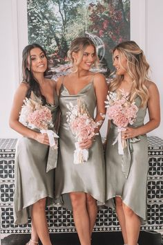 Silk Bridesmaid Dresses, Beach Bridesmaid Dresses, Dream Wedding Dresses, Bridesmaids With Different Dresses, Wedding Dresses For Bridesmaids, Weding Dresses, Boho Wedding Dress, Bride Maid Dresses, Low Key Wedding Dress