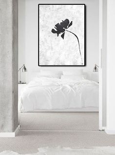 Extra Large Abstract Painting On Canvas, Textured Painting Canvas Art, Black And White Flowers Original Art Handmade.