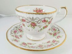 Queens Vintage Pink flowers Bone China Teacup and Saucer Duo England in Pottery, Glass, Pottery, Porcelain, Other Porcelain | eBay!