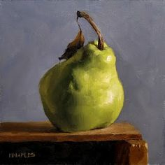 "MICHAEL NAPLES. 'Pear on Shelf No.3.' Oil on 1/4"" Board. Approx 6""x6"" SOLD. Last of series."