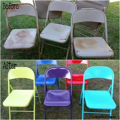 Painted metal folding chairs with Krylon Spray Paint!  Great idea!