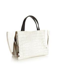 White mock croc panelled shopper bag, Debenhams