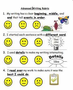 self check writing rubric- higher 1st Grade Writing, Kindergarten Writing, Kids Writing, Teaching Writing, Kids Reading, Teaching Tools, Essay Writing, Writing Rubrics, Writing Strategies