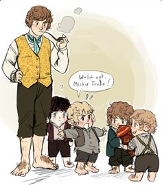 This is so cute!! Sam protecting Frodo from Merry and Pippin who are holding a giant firework