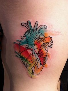anotomical heart water colour tattoo
