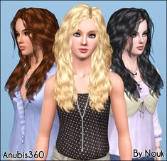 Mod The Sims - Nouk's Long Wavy Hair ~ Converted for Teen-to-Elder **UPDATED**