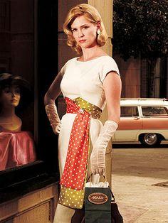 Betty Draper-white dress with polka dot scarves