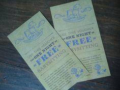 Free Night's Worth of Babysitting Coupon by KueperCreative on Etsy, $5.00