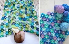 Crochet Puff Flower Blanket Free Pattern