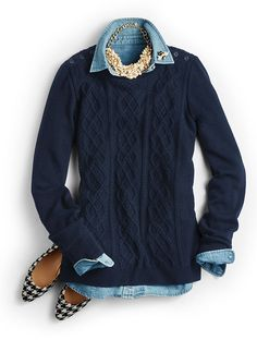 Love this sweater! Love the color and the style; especially the button details at the top.