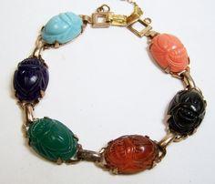 Vintage Lucite Scarab Bracelet Molded Stones by GretelsTreasures