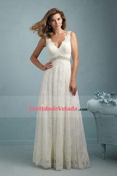 Vestidos de novia Línea A Cuello V Sin mangas Cola de corte Cremallera de detrás Applique Marfil US$ 219.99 VLPC5BP9P3 - VestidodeVelada.com