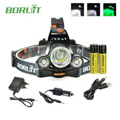 ==> [Free Shipping] Buy Best Boruit rj-3000 Super bright headlamp Flashlight head lamp lumens with green light mode  18650 rechargeable battery and charger Online with LOWEST Price | 32789110281