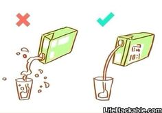 The correct way to pour from a container