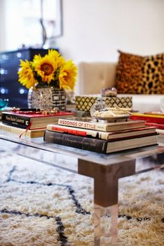 Styling a Coffee Table - Stack a Pile of Books