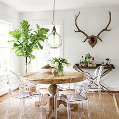 Such a fun eclectic rustic dining room. So much texture yet still looks clean…