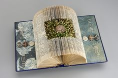 Embroidered & Collaged Fiber Constructions, Mixed Media Collage Paintings and Artist Books by Sharon McCartney Folded Book Art, Book Folding, Collages, Altered Book Art, Book Sculpture, Art Textile, Book Projects, Handmade Books, Book Making