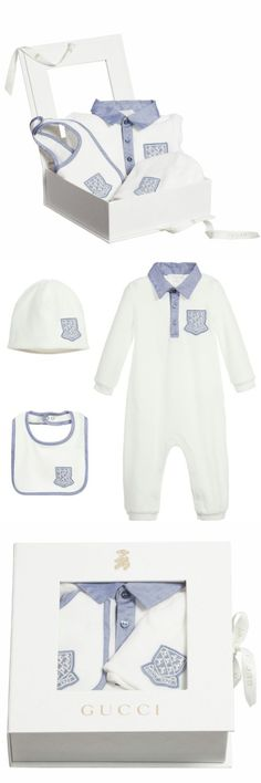f5967a87ec0 Outfits and Sets 147333  Nwt New Gucci Baby Boys White Blue 3Pc Gift Set  Romper. Gucci BabyBeanie HatsGift ...