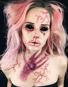 The last throwback until new looks are posted for Halloween! Horror Makeup, Zombie Makeup, Scary Makeup, Sfx Makeup, Demon Makeup, Halloween Inspo, Halloween Makeup Looks, Creepy Halloween, Costume Halloween