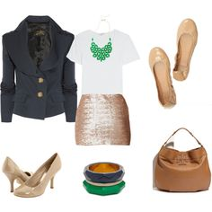 Sequin skirt outfit (no flats, different bag...love)