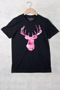 Women's Deer Head Pink Camo w/nape Country Girls™™ - Full Figure Short Sleeve Tee