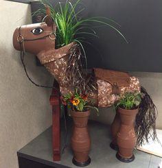 Clay pot horse