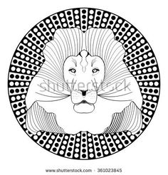 Lion head, patterned symmetric animal drawing on circle dotted background. Lion king of beasts, vector illustration suitable as decoration, tattoo template, emblem, club sign, horoscope sign