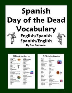 Spanish Day of the Dead Vocabulary Reference by Sue Summers - Dia de los Muertos, holiday