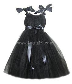 Breakfast at Tiffany's Tutu Dress, Black Flower Girl Tutu Dress. $58.99, via Etsy.