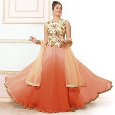 Peach & Orange Color Net Semi-stitched Designer Gown For Wedding : Rajkumari Collection YF-33386