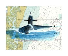 USS Tennessee SSBN-734 #USSTennessee  Submarine Watercolor Giclee Print on Nautical Chart by Adam Koltz