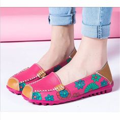 New Arrival Fashion Women Flower Floral Leather Loafers Moccasins Flats Soft Ballet Shoes Round Toe Flats