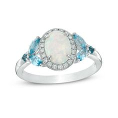 Zales Sky, Swiss and London Blue Topaz and Lab-Created White Sapphire Open Shank Ring in Sterling Silver