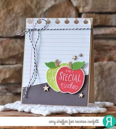 Card by Amy Sheffer. Reverse Confetti stamp set: All Apples. Confetti Cuts: All Apples and Office Edges. Thank you card. Greeting Cards For Teachers, Teachers Day Greetings, Teacher Thank You Cards, Teachers Day Gifts, Kids Cards, Greeting Cards Handmade, Teacher Gifts, Teacher Notes, Teacher Presents