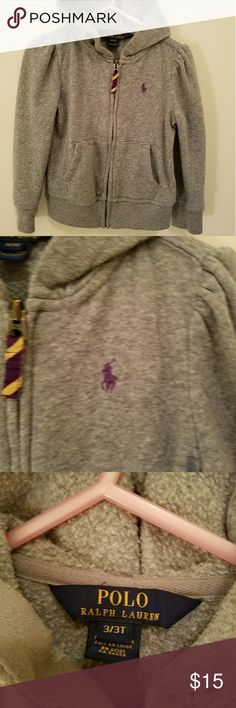 Toddler Polo sweater Gray  Polo zip hoodie with the purple horse. In good condition. Only worn a hand full of times. Polo by Ralph Lauren Jackets & Coats