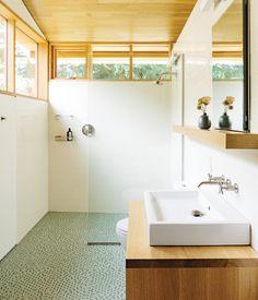 green mosaic tiles for shower floor
