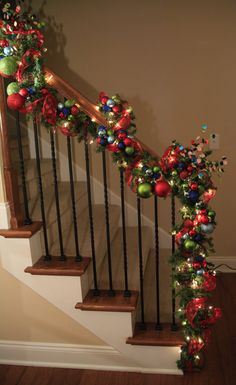 Colorful Christmas Banister - wrapping the garland instead of wiring it