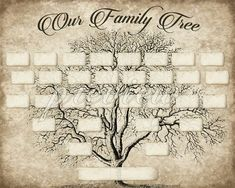 DIY Printable Family Tree PDF Template 8x10, Type in your names using Adobe Reader, print, and frame.