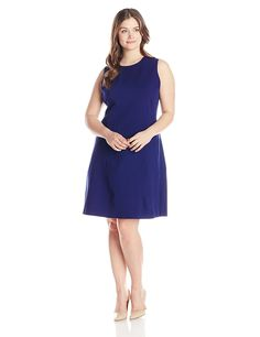 Anne Klein Women's Plus-Size Sleeveless Stretch A-Line Dress * New and awesome product awaits you, Read it now  : Trendy plus size clothing