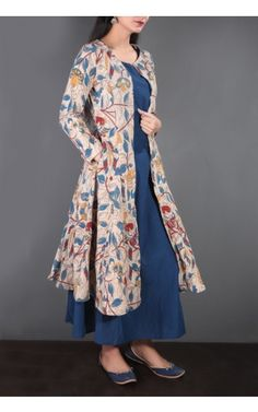 Kalamkari Cotton Palazzo, Kurta, Cape, Skirt-Buy Kalamkari Asymmetric kurta, Kalamkari Kaftan  Online at Tjori Tjori