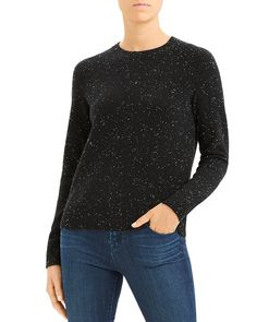 Theory Donegal Speckled Easy Crewneck Sweater In Black Multi Black Sweaters, Sweaters For Women, Theory Clothing, Contemporary Fashion, Fashion Labels, Crewneck Sweater, Cashmere, Crew Neck, Long Sleeve