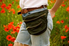 Black wax cotton Bumbag, bag, fanny pack, oil cloth, ykk zips, turquoise lining on Etsy, $70.25