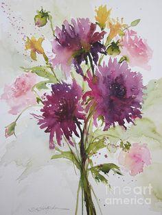 Dahlias, transparent watercolor, Sandra lstrohschein