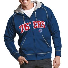 Men s Antigua Royal Blue Philadelphia 76ers Resist Full Zip Hoodie 63e9f18f1