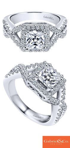 Treat her like royalty with this stunning and intricate engagement ring. This Gabriel & Co. 14k white gold princess cut diamond halo engagement ring will be something she will never take off! Discover this engagement ring or customize your own on our website!