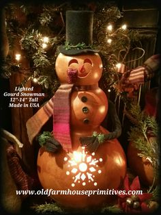 Lighted Gourd Snowman (Made in USA)