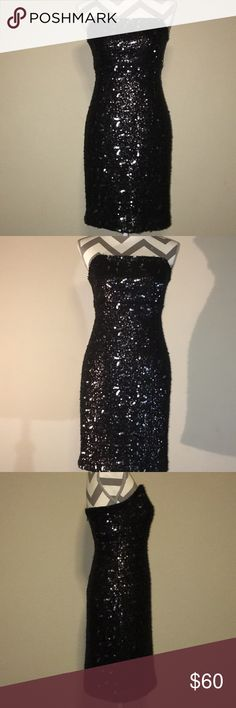 Banana Republic Sequin Dress Mid length, fitted, black strapless cocktail dress. Sequins over knit. Extremely stunning dress!  PC7 Banana Republic Dresses