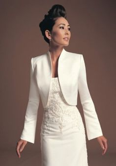$63 Satin Collarless Long Sleeve Wedding Dress Jacket