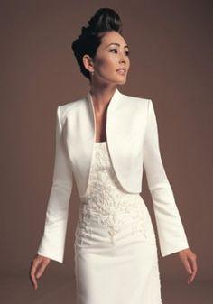 $63 Satin Collarless Long Sleeve Wedding Dress Jacket
