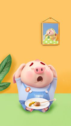 Pig Wallpaper, Funny Phone Wallpaper, Pigs Eating, Cute Piglets, 3d Art, Pig Drawing, Pig Illustration, Cute Couple Cartoon, Funny Pigs